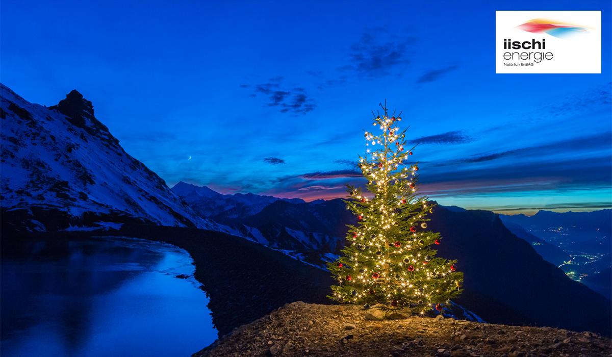 Weihnachtsbaum Werbung iischi Energie Stausee Natur Dämmerung Nacht Fotografie