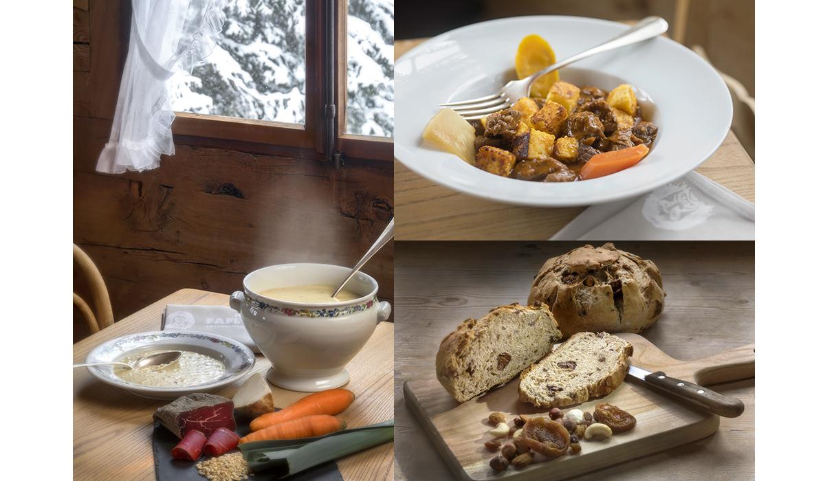 Food Aufnahme Fotografie Still life Brot Suppe Polenta Ragout urchig Wallis