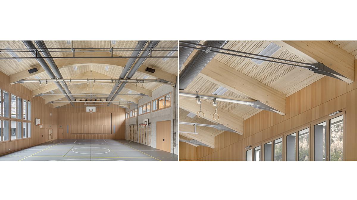 Saas Fee Turnhalle Ausbau Umbau Architektur Fotografie Holzbau Renggli
