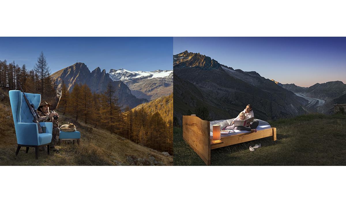 Werbung Raumart Werbefotografie Möbel Natur Aletschgletscher
