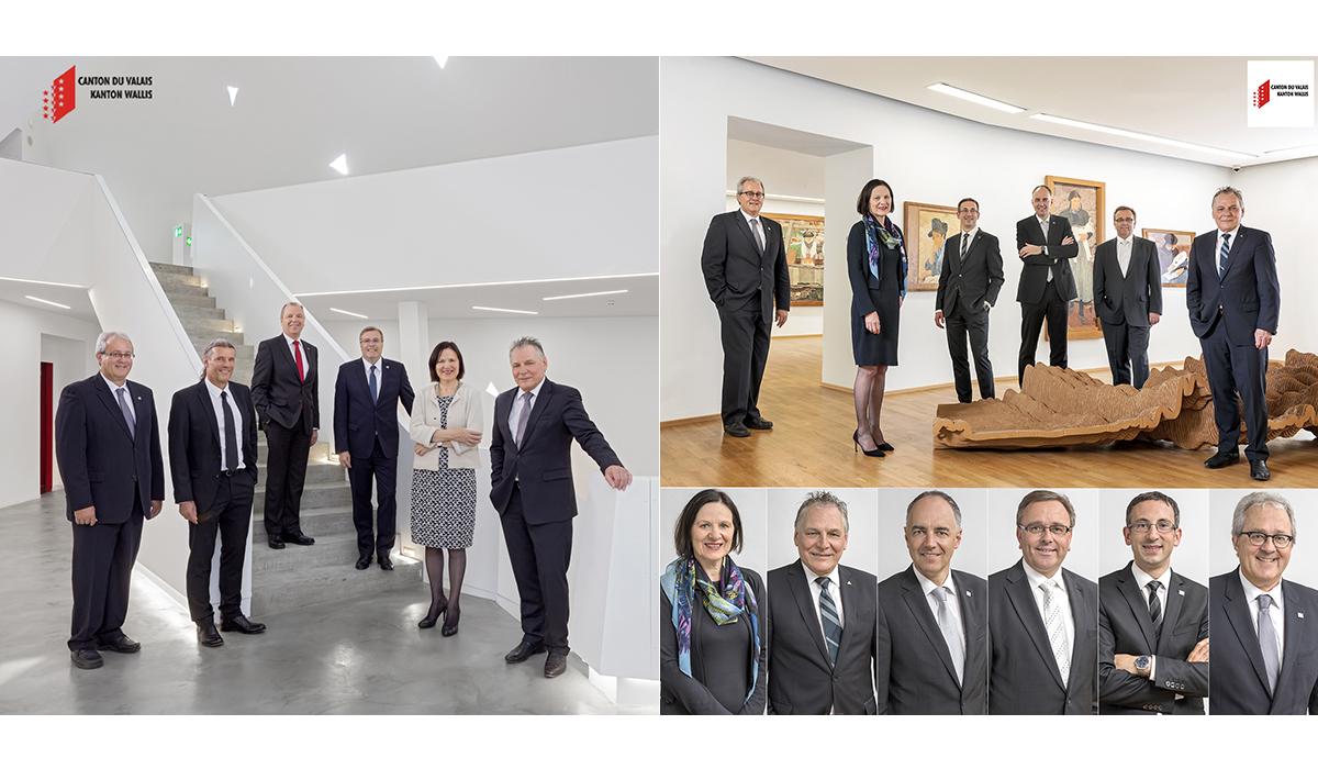 Portrait Staatsrat Wallis Gruppenbild Familienportrait Teamfoto Profilbild