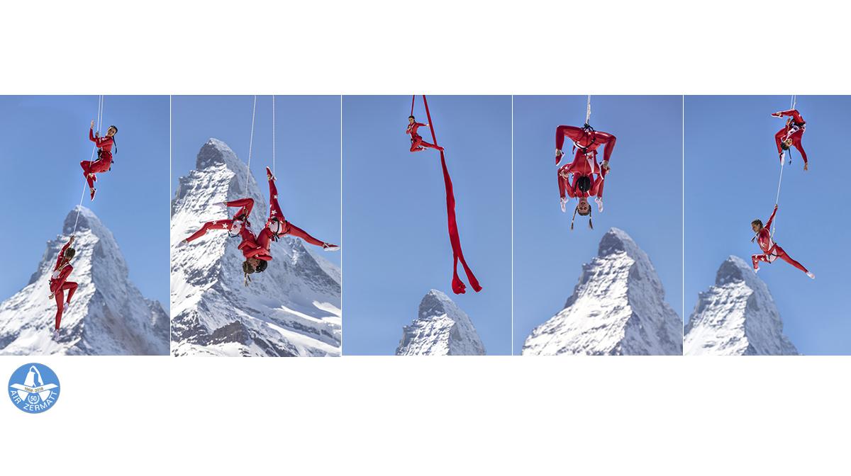 Presse Matterhorn 50 Jahre Air Zermatt Akrobatik Luft Zermatt