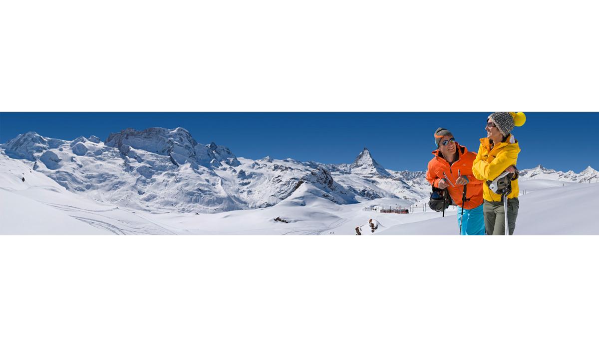 Werbefotografie Tourismus Werbung Natur Zermatt Piste Skifahren GGB Schnee